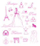 Paris fashion doodles set