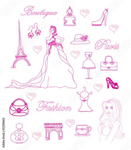 Paris fashion doodles set