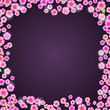 Romantic Pink Floral Frame on Dark Purple Background
