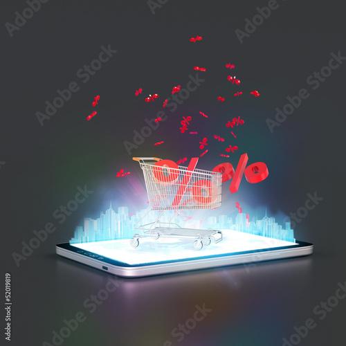 Tablet PC Online Einkauf Konzept 3D
