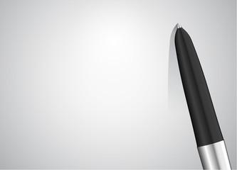 Luxury metallic ball pen on a white card