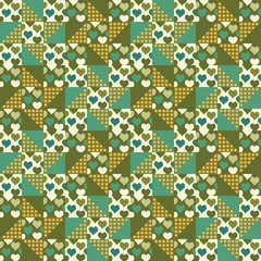 Seamless background, patchwork with hearts