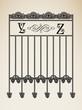 Vector vintage ornamental letter Y Z sign alphabet and frames