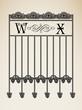 Vector vintage ornamental letter W X sign alphabet and frames