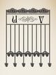 Vector vintage ornamental letter U V sign alphabet and frames