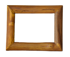 Wooden photo frame isolated on white bg with clipping path.