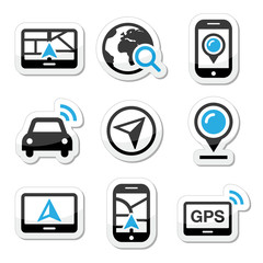 GPS, navigation travel vector icons set