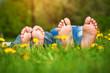 Leinwandbild Motiv feet on grass. Family picnic in spring park