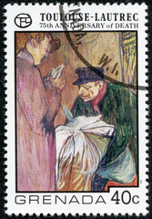 stamp printed in Grenada shows draw by artist Touloise-Lautrec