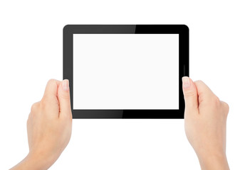 tablet computer isolated in a hand on the white backgrounds. lik
