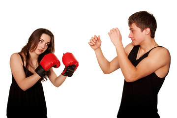 The girl beating the guy, the guy defending himself.