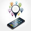 smartphone, logo, cloud, géolocalisation