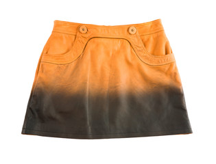 Tie dye orange leather mini skirt