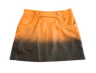 Tie dye orange leather mini skirt