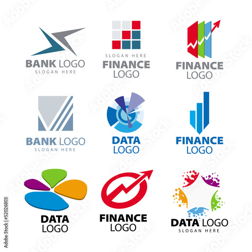 collection of vector logos for banks and finance companies
