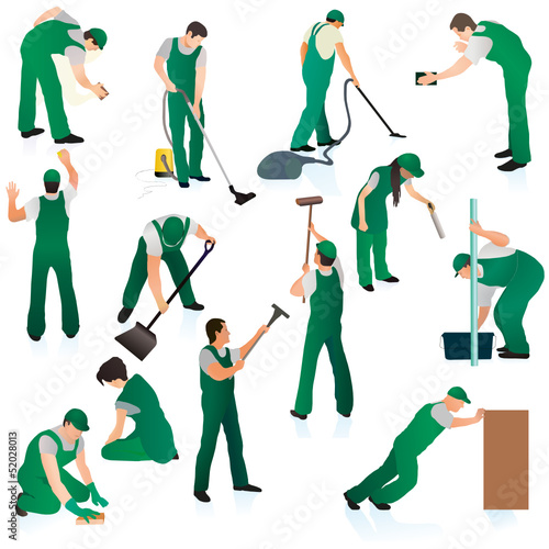 Set o thirteen professional cleaners in green uniform
