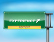 "Highway sign with ""Experience"" text"