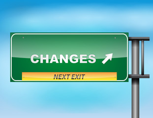 "Highway sign with ""Changes"" text"