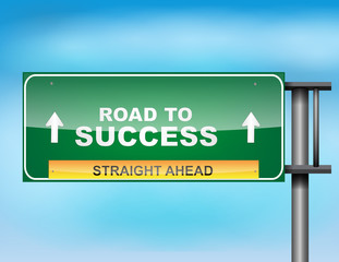"Highway sign with ""Road to Success"" text"