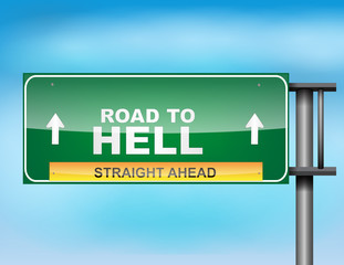 "Highway sign with ""Road to Hell"" text"