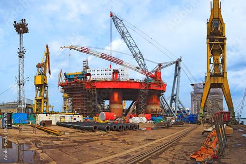 Staande foto Industrial geb. Industrial view - Gdansk shipyard and industrial area.