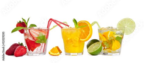 Fresh summer cocktails, isolated on white background