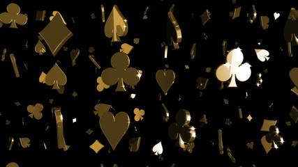 Looping Silver and Gold Card Symbols Falling