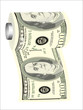 A toilet paper roll of hundred dollar bills