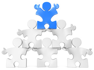 Business Pyramid.Puzzle people x 6 in Pyramid Formation. Blue.
