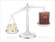 Balance between law and money illustration design