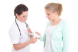 young doctor bandaging female hand over white background