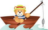 Teddy bear fishing in a boat