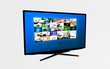 Widescreen high definition TV screen with video gallery. Televis