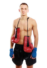 Young handsome boxer man isolated on white  background