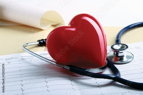 A file folder, a stathoscope and a heart on ekg