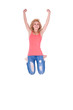 Young happy caucasian teenage girl jumping - Caucasian people