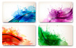 Collection of colorful abstract watercolor cards. Vector
