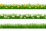 Three nature backgrounds of green grass with dandelions and dais poster