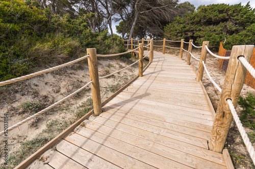 Beach way to Salinas beach in Formentera Balearic islands