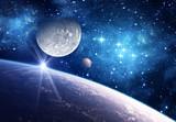 Tło z planety, księżyc i gwiazda