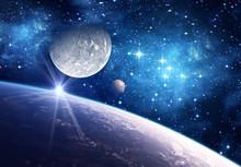 Fond avec une planète, lune et étoile