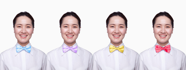 Businesswoman with colorful tie, Digital Composite