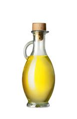 Flasche mit Öl isoliert auf weißem Hintergrund