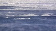 Time-lapse of drifting ice on a large river with dust