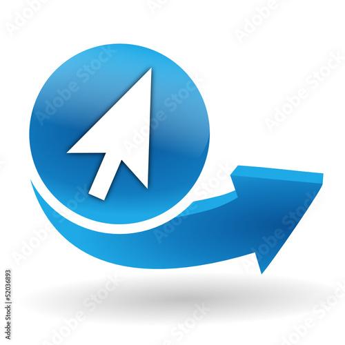 pointeur sur bouton web bleu