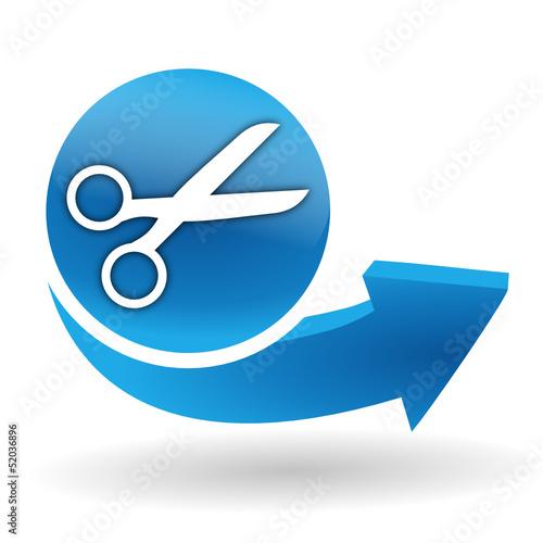 couper sur bouton web bleu