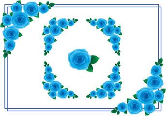 バラ フレーム 青