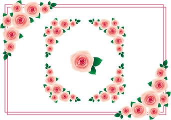 バラ フレーム 桃色