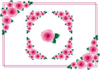 バラ フレーム 濃いピンク
