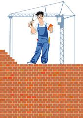 Bauhandwerker beim mauern